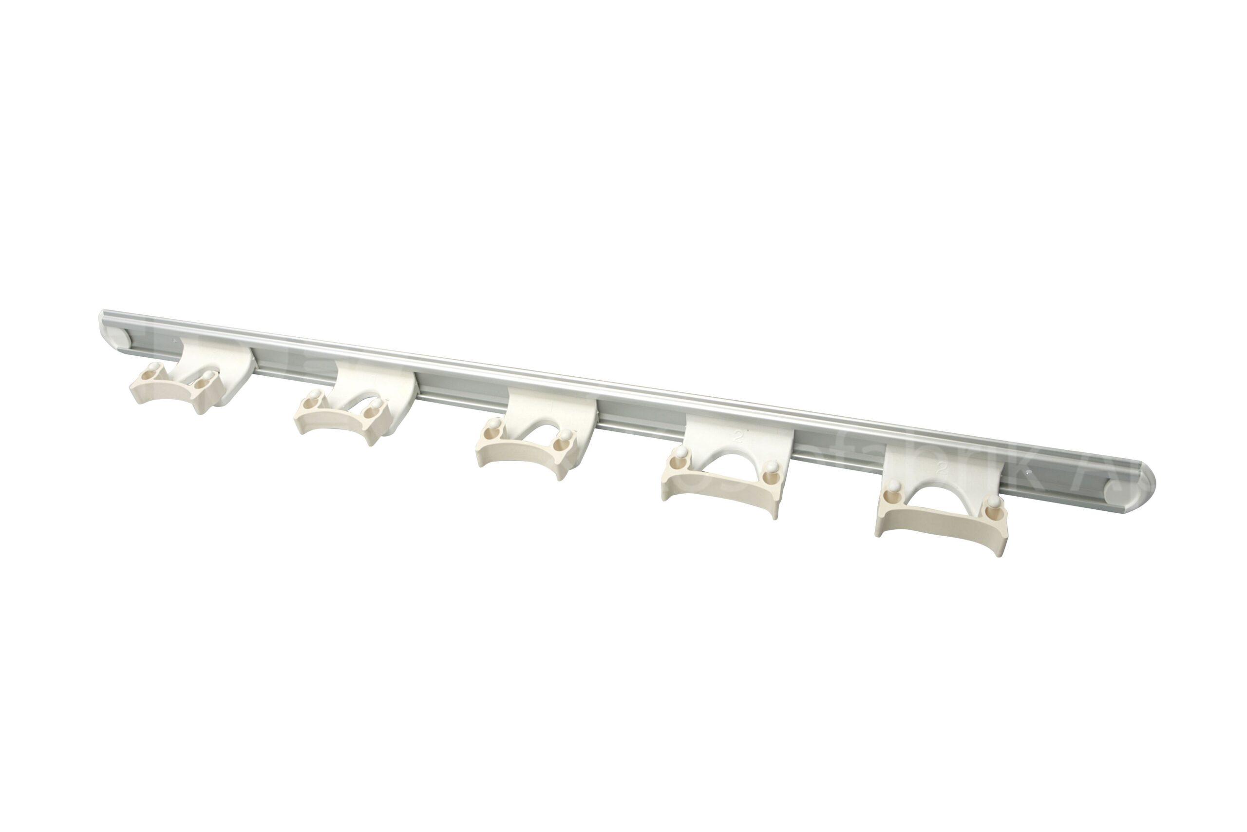 FT veggoppheng, skinne m/5 holdere, hvit